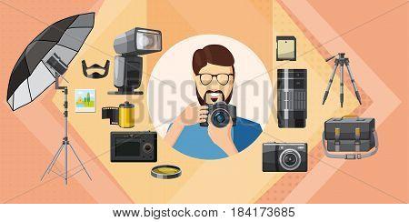Photographer tools horizontal concept. Cartoon illustration of photographer tools banner horizontal vector for web