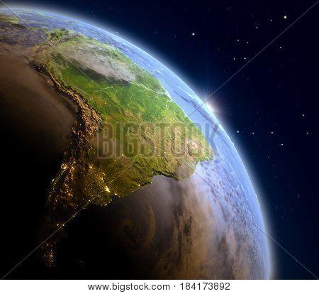 Sunrise Above South America