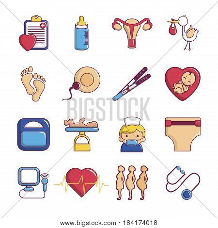 Pregnancy icons set. Cartoon illustration of 16 pregnancy vector icons for web