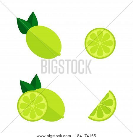 Lime icon isolated on white background. Whole and cut lime set. Tropic fruit. Flat vector illustration design.