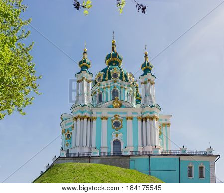 Baroque church Saint Andrew's built in the 18th century in Kiev Ukraine against the sky