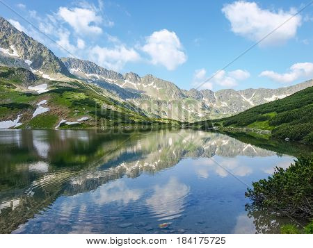 Mountain lake with coasts overgrown with grass and mountain pine the craggy of the mountain gorge and sky reflected in water