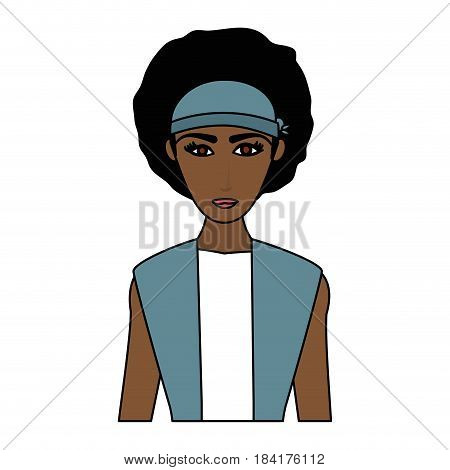 color image cartoon half body brunette woman with afro hair vector illustration