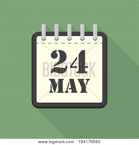Calendar with 24 may in a flat design. Vector illustration