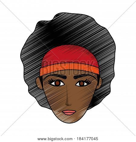 color pencil cartoon front face brunette woman with afro hair vector illustration