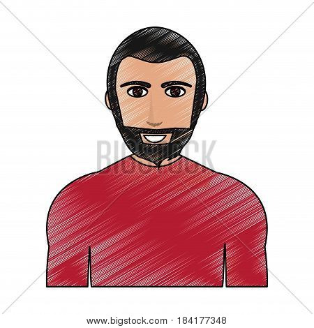 color pencil cartoon half body man with muscular body and beard vector illustration