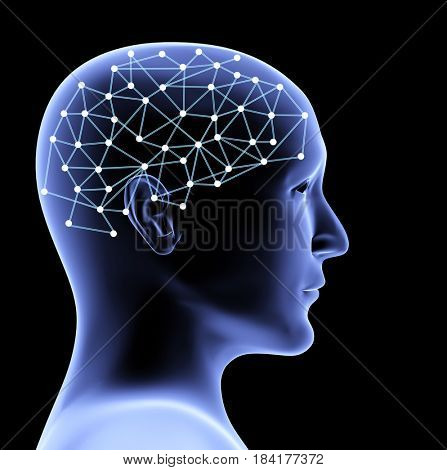 Transparent head of person and neural network of brain. Isolated on black background. 3d render
