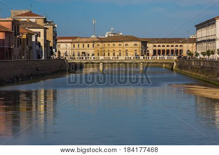 The river Misa in the historic center of Senigallia city, Marche, Italy