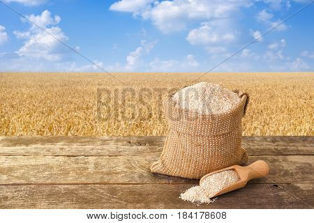bran in sack and wooden scoop on table with ripe cereal field on the background. Food supplement to improve digestion. Dietary fiber. Product for healthy nutrition and diet. Golden field and blue sky