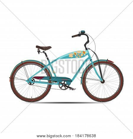 Vector illustration of city bicycle. Modern bike flat style design element isolated on white background.