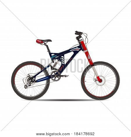 Vector illustration of bmx bicycle. Sport bike flat style design element isolated on white background.