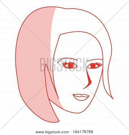 red silhouette shading cartoon side profile face woman with short hairstyle vector illustration