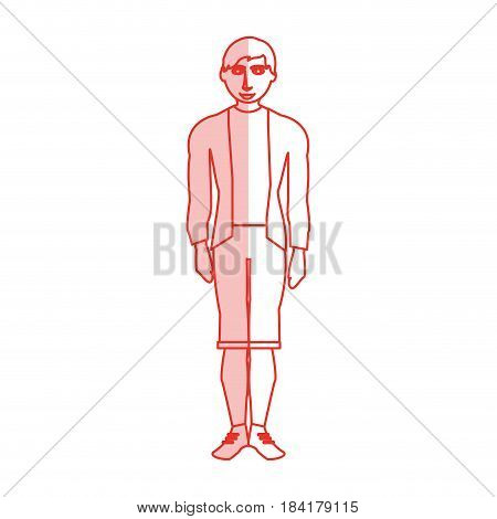 red silhouette shading cartoon full body man with shorts and jacket vector illustration