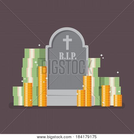 Graveyard with cash money. Flat style vector illustration