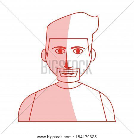 red silhouette shading cartoon half body man with muscular body and beard with hairstyle vector illustration
