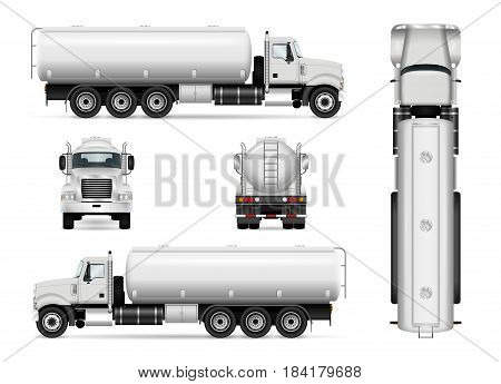 Tanker truck vector template for car branding and advertising. Isolated tanker car set on white. All layers and groups well organized for easy editing and recolor. View from side front back top.