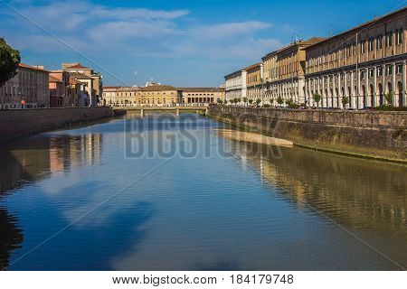 Panoramic view of the historic center of Senigallia city and the river Misa