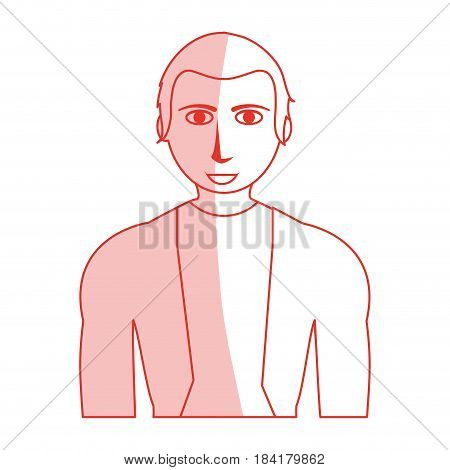 red silhouette shading cartoon half body guy with atlethic body and sport t-shirt vector illustration