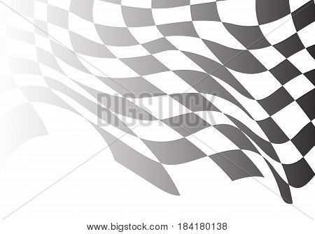 Checkered flag flying wave white design race background vector illustration.