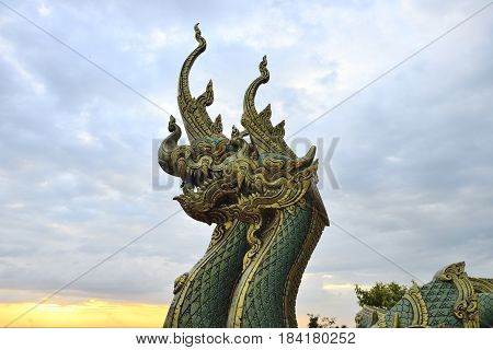 sculpture, naga in temple of north of thailand