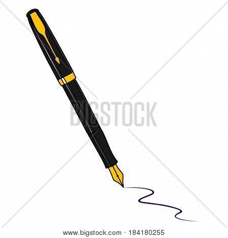 Ink pen. Black fountain pen isolated on white background.