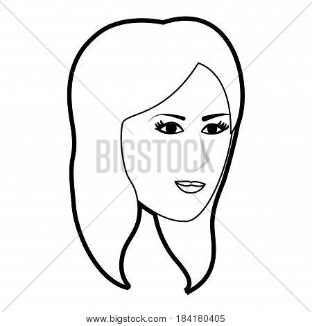 black silhouette side profile face woman with straight short hairstyle vector illustration