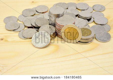 close-up Thai Baht Coins background. Thailand money