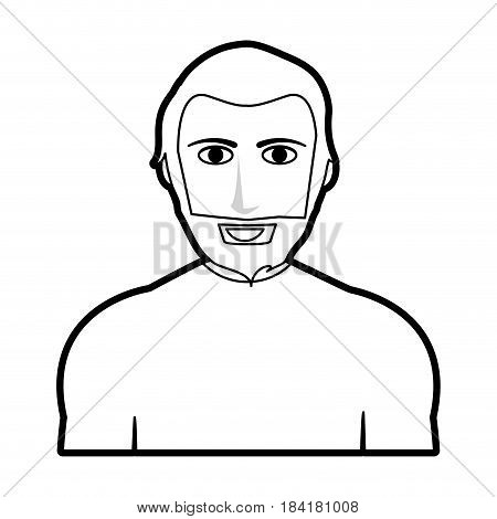 black silhouette cartoon half body man with muscular body and beard vector illustration