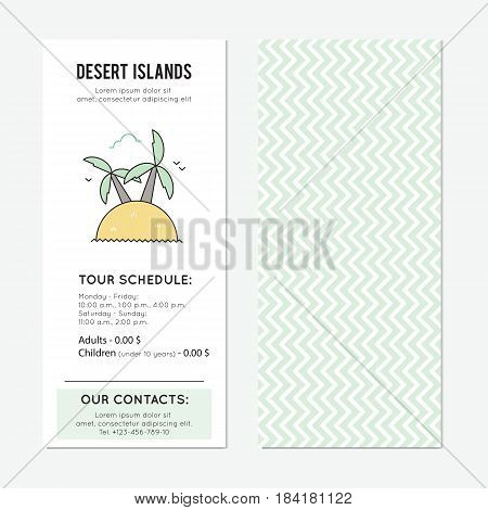 Desert island vector vertical banner template. The tour announcement. For travel agency products, tour brochure, excursion banner. Simple mono linear modern design.