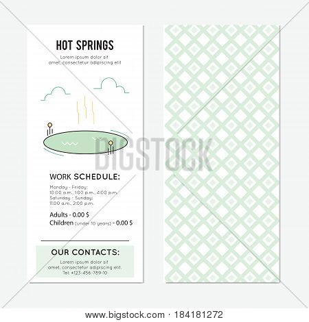 Hot springs. Thermal lake vector vertical banner template. The tour announcement. For travel agency products, tour brochure, excursion banner. Simple mono linear modern design.