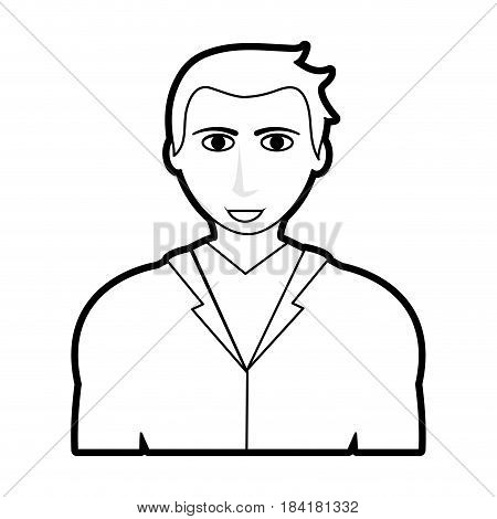 black silhouette cartoon half body man with atlethic body and jacket vector illustration