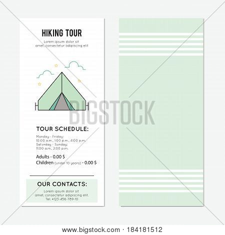 Tent vector vertical banner template. Hiking tour announcement. For travel agency products, tour brochure, excursion banner. Simple mono linear modern design.