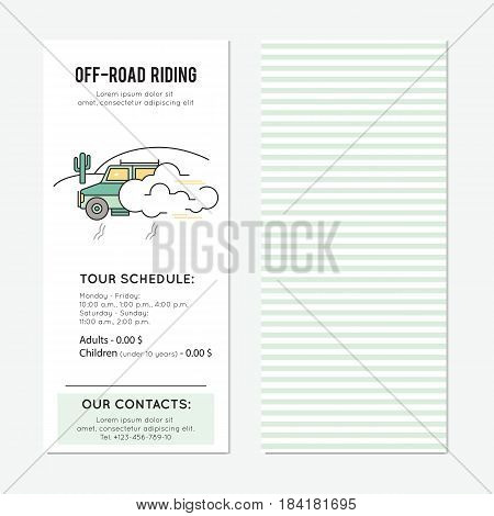 Off-road ride vector vertical banner template. Safari tour announcement. For travel agency products, tour brochure, excursion banner. Simple mono linear modern design.