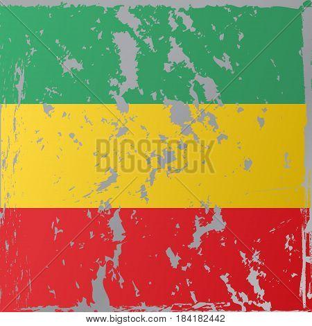 Rastafarian flag executed in grunge style. Vector illustration.
