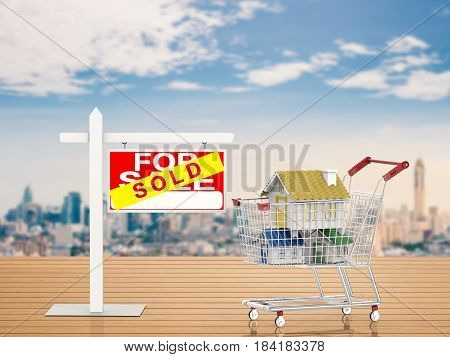 Sold House Sign With Mock Up House In Shopping Cart