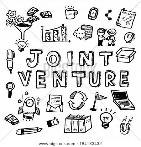Hand Draw Business Doodles Joint Venture On White Background.concept For Business Idea,startup And F