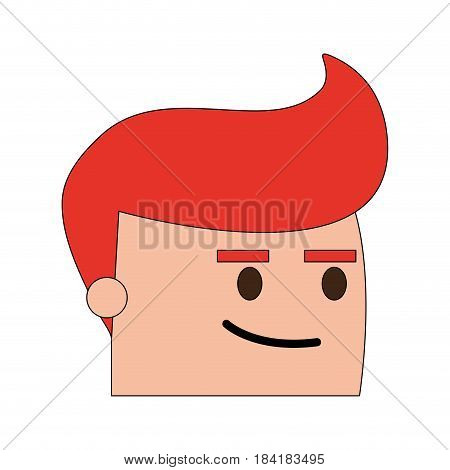 color image side view face cartoon man with expression of satisfaction vector illustration