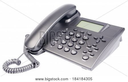 Telephone set with LCD isolated on the white background