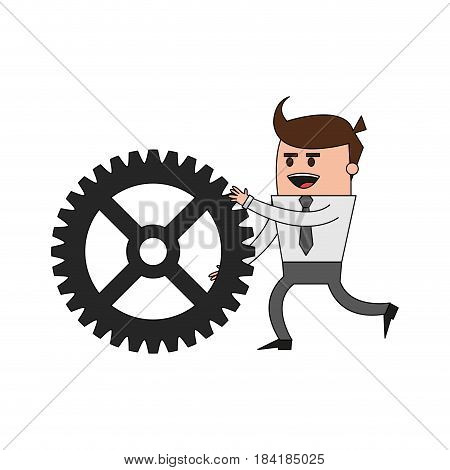 color image cartoon business man pushing a gear vector illustration