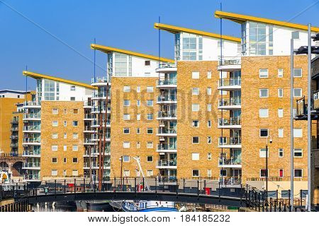 Waterside apartments at Limehouse Basin Marina in London