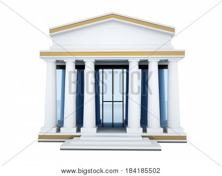 Build structure bank isolated background. 3d illustration