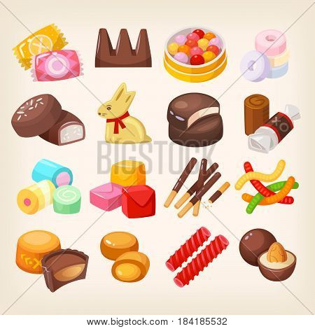 Set of top popular sweet desserts for halloween easter christmas. Chocolate bars candies and other sweet food.