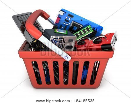 Computer spare parts store and shopping bag. 3d illustration
