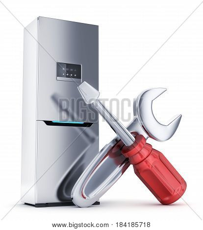Modern big refrigerator on white background. 3d illustration