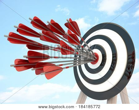 Target and many arrow abstract success. 3d illustration
