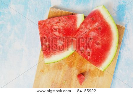 Tasteful fresh watermelon fruit slices on the table top view
