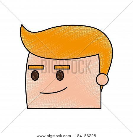 color pencil image side view face cartoon guy with expression of satisfaction vector illustration