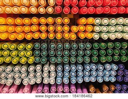 Colorful of plastic circle on magic pen background, Used for textured and background image