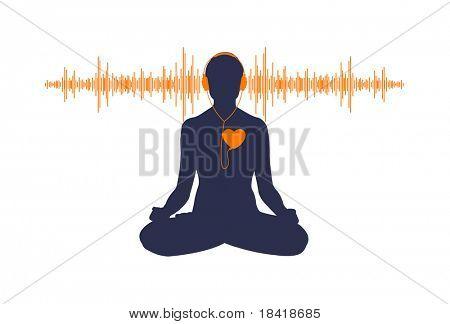 Vektor-Illustration des Yoga, die sein Herz zu hören