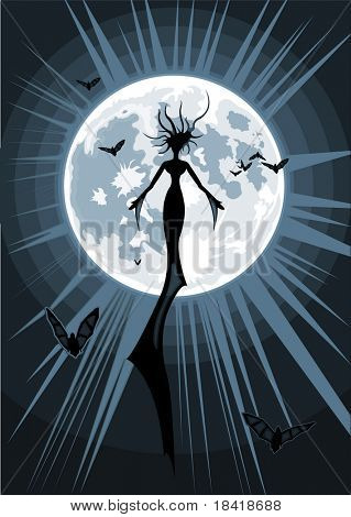 Vector illustration of mystic succubus flying in the night